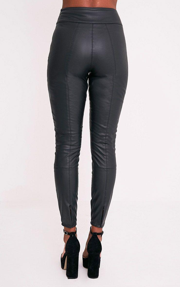 Denice pantalon skinny en imitation cuir noir 5