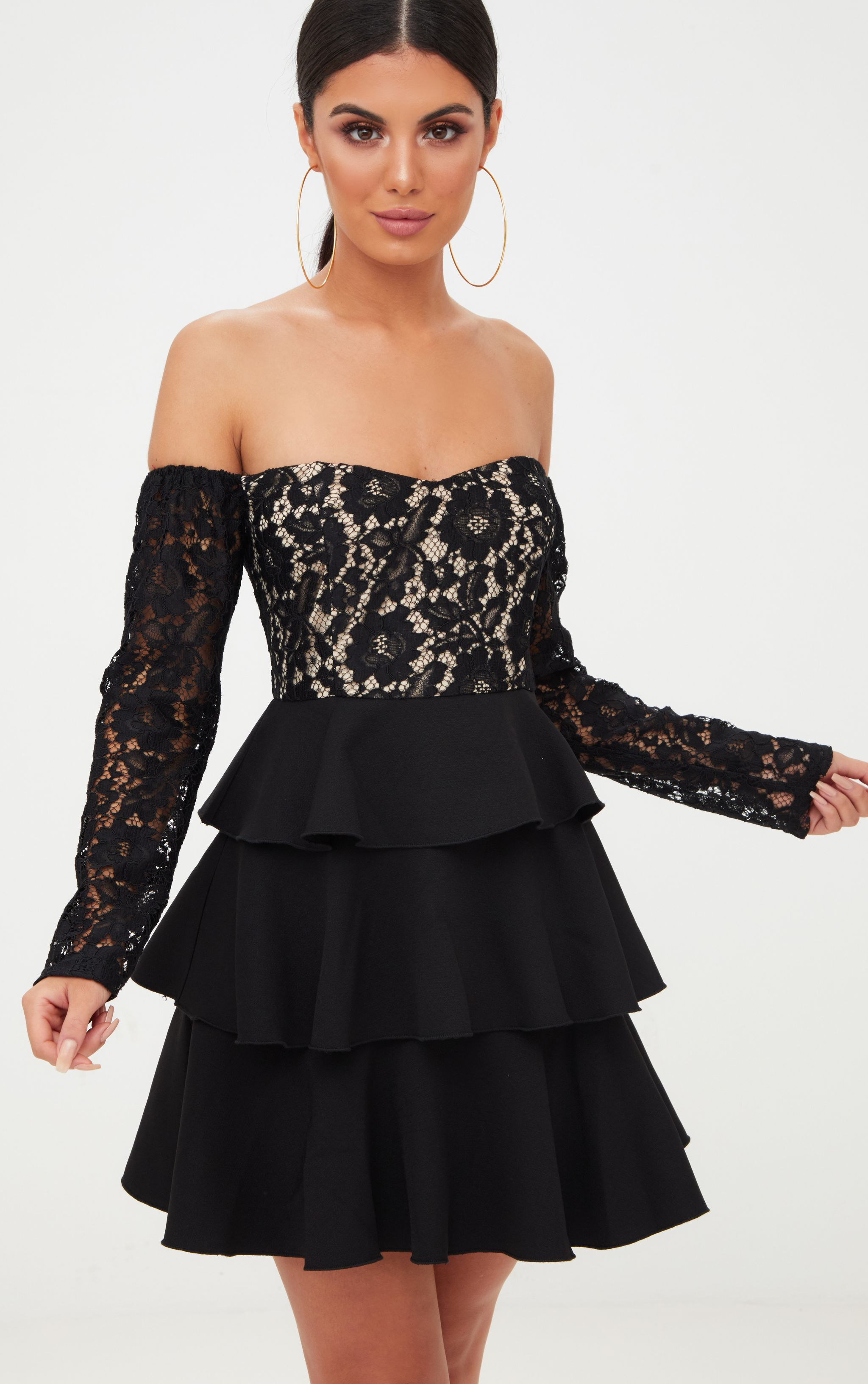 black lace top frill detail skater dress