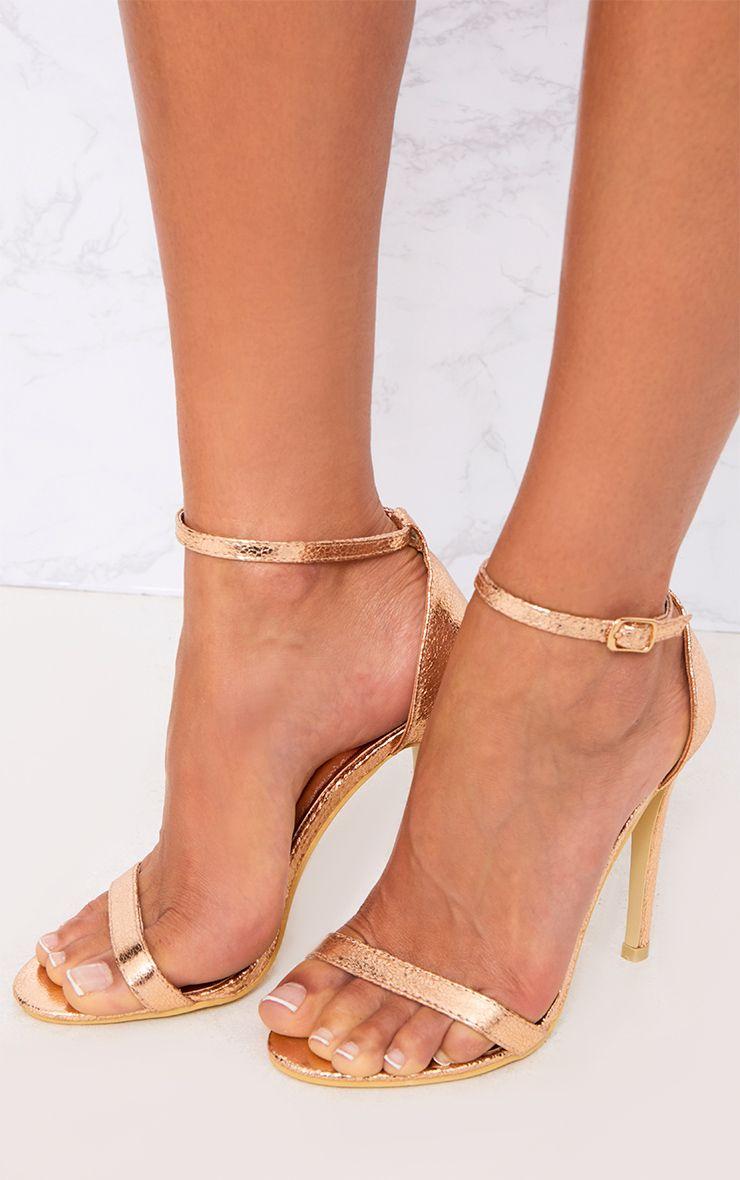 Clover sandales à talons à bride or rose