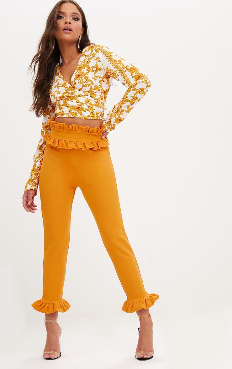 Mustard Frill Trim Trousers