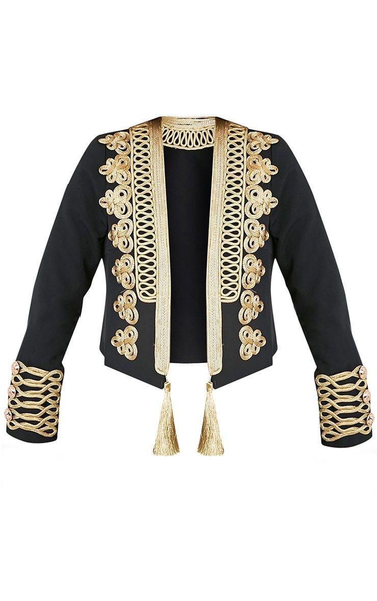 Cecilie black premium embroidered crop trophy jacket