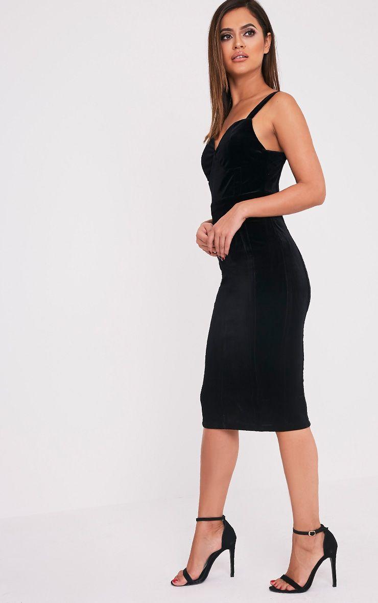 Garcia Black Velvet Panel Midi Dress