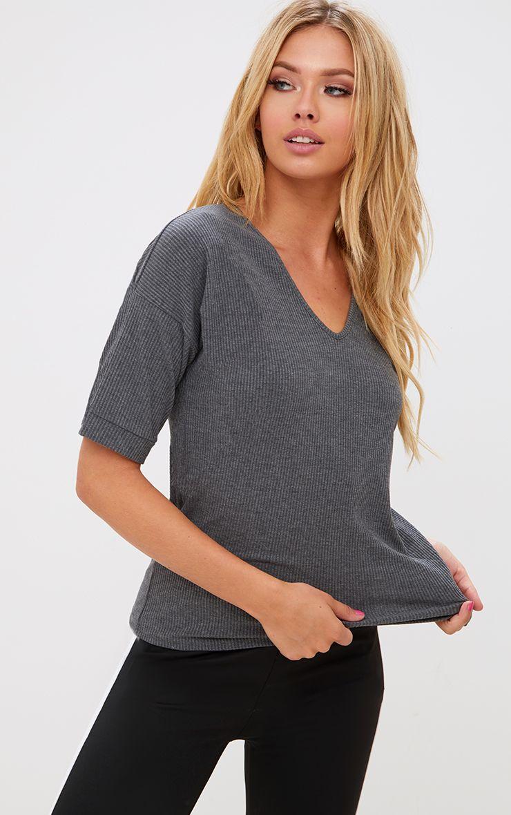 Grey Ribbed Oversized T Shirt