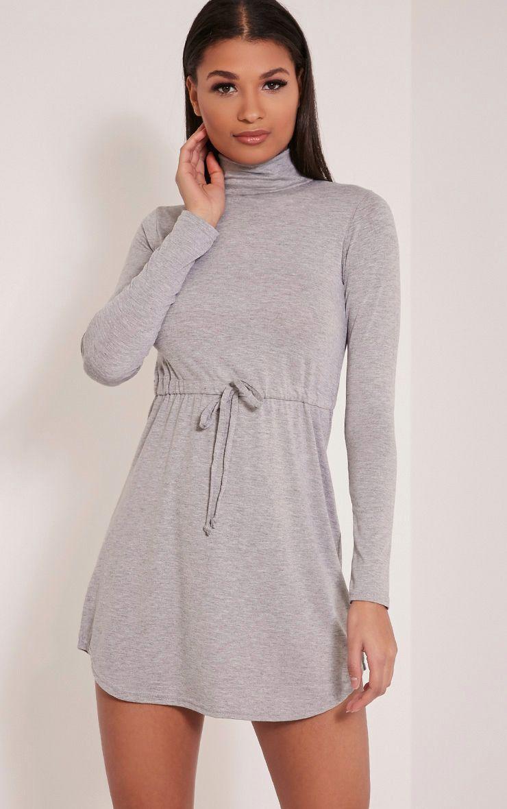 Dorathea Grey Tie Waist Long Sleeve Jersey Bodycon Dress 1