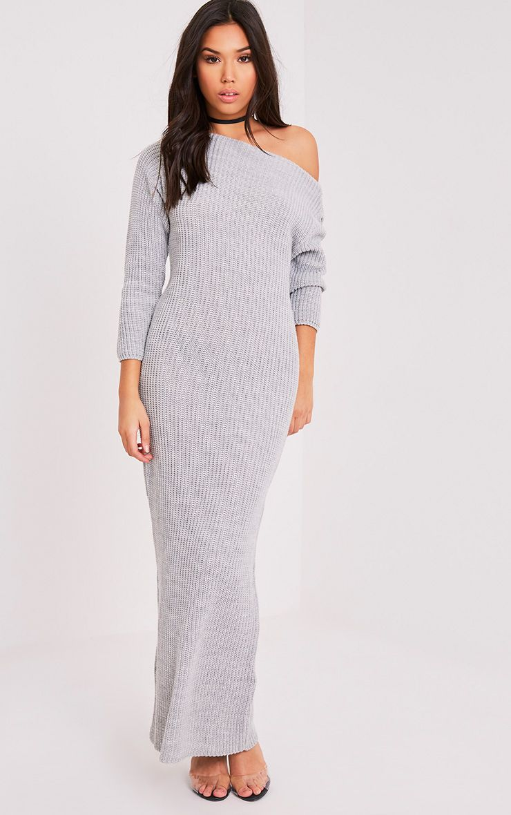 Adalynn Grey Knitted Maxi Jumper Dress 1