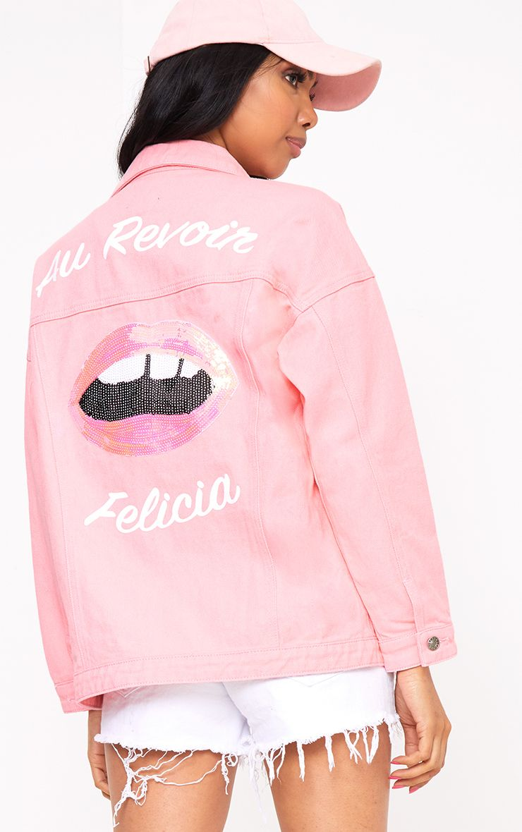 Pink Au Revoir Felicia Oversized Denim Jacket