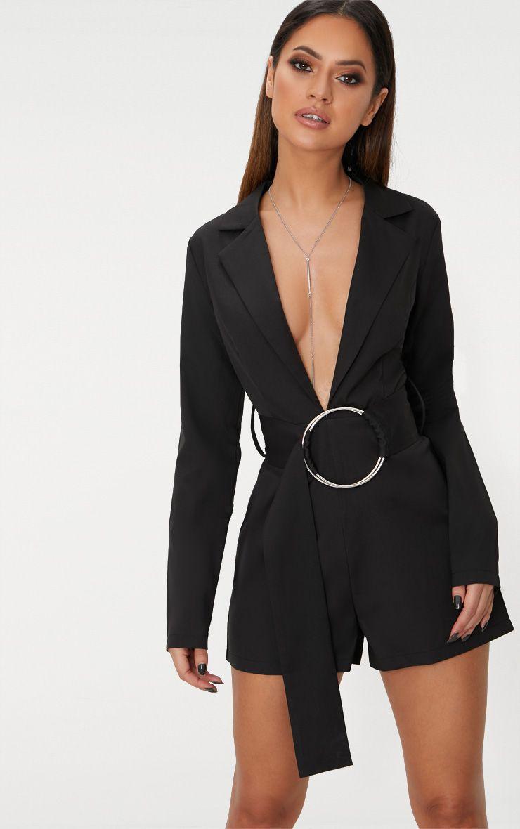 Black Tux Long Sleeve Playsuit