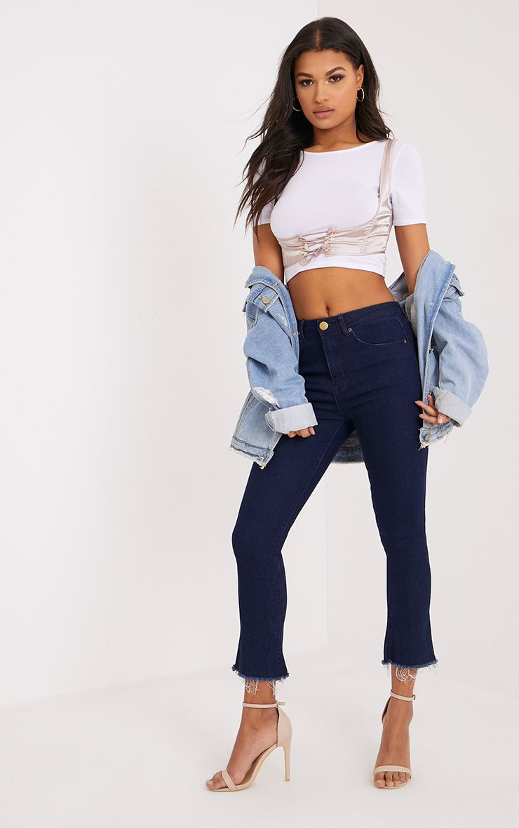 Alexaen Dark Wash Cropped Kick Flare Jean