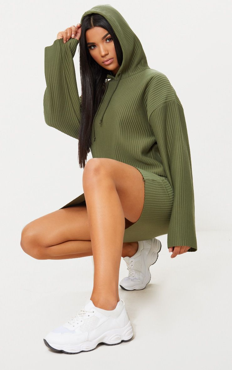 Khaki Ribbed Hooded Sweater Dress