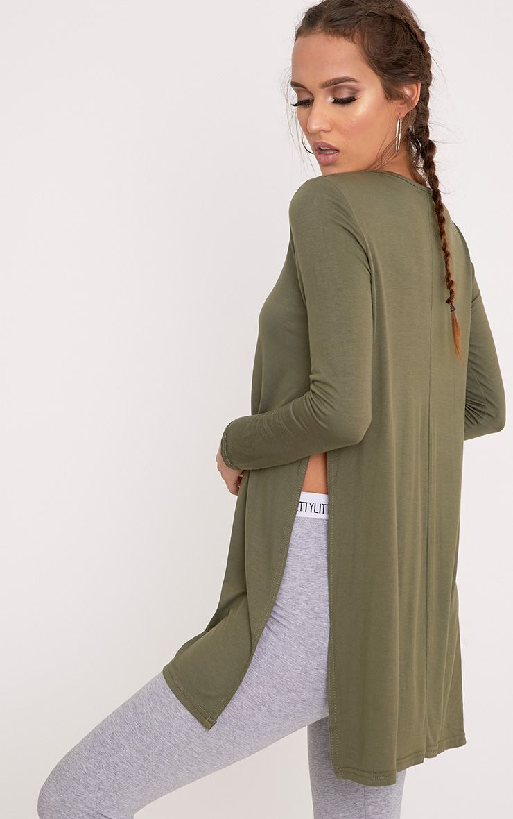 Basic Khaki Long Sleeve Side Split Top