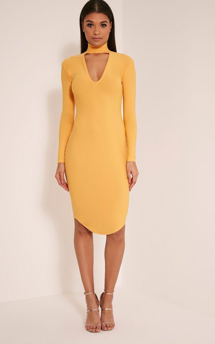 Malaya Pastel Orange Crepe Choker Detail Midi Dress 1