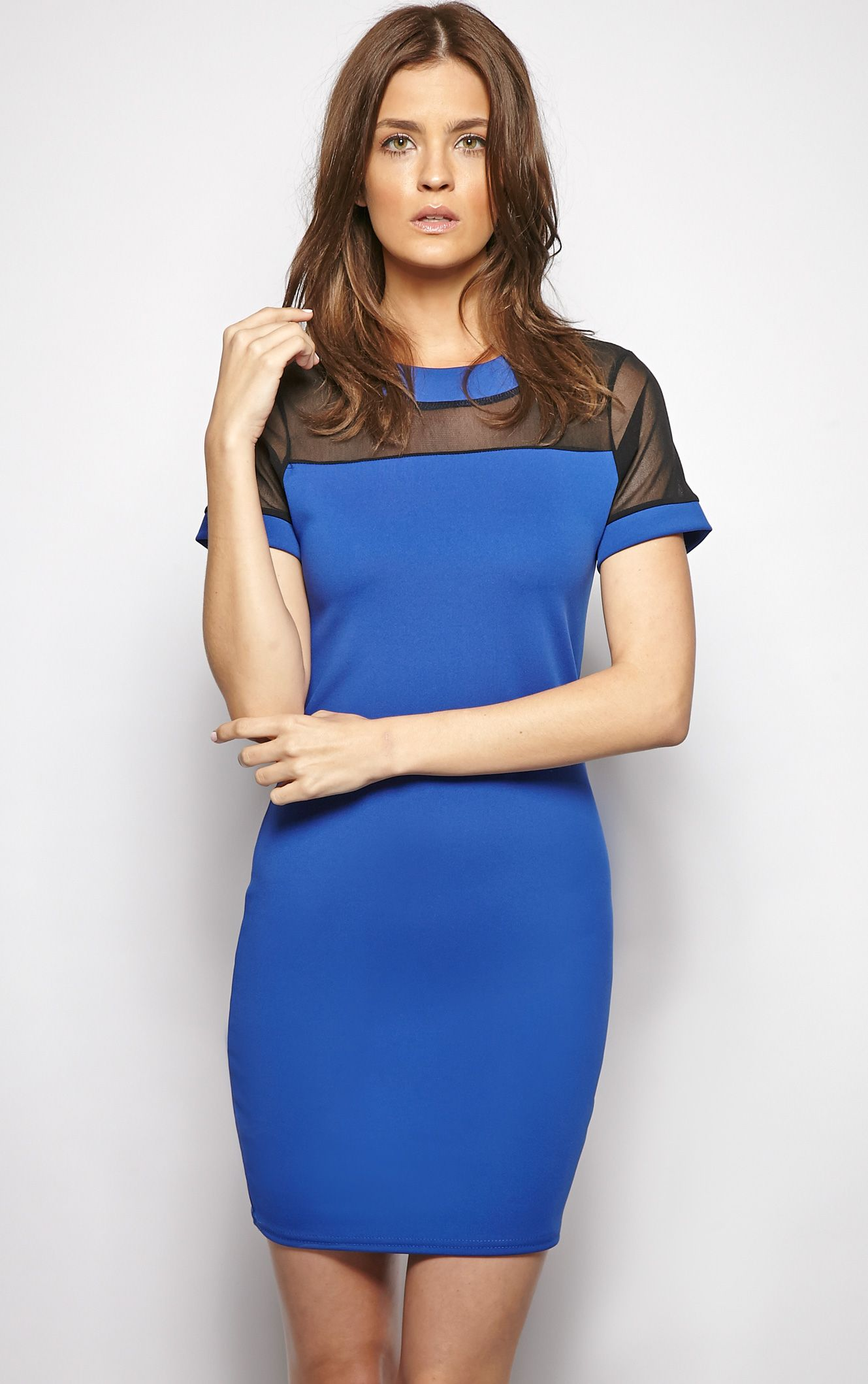 Molly Blue Mesh Panel Shift Dress 1