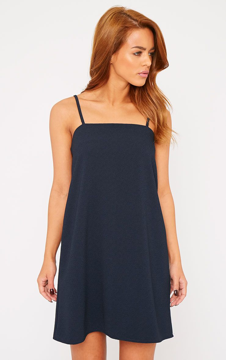 Joy Navy Crepe Cami Swing Mini Dress 1