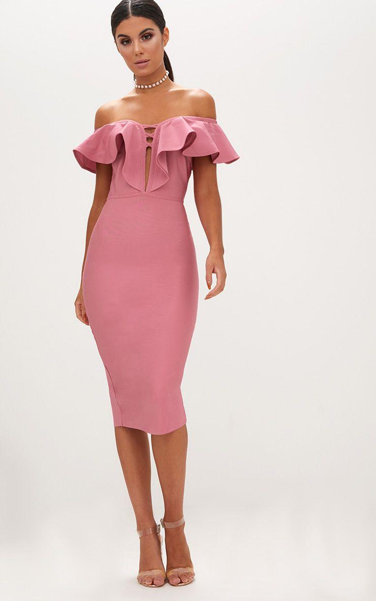 Rose Bardot Frill Lattice Detail Midi Dress