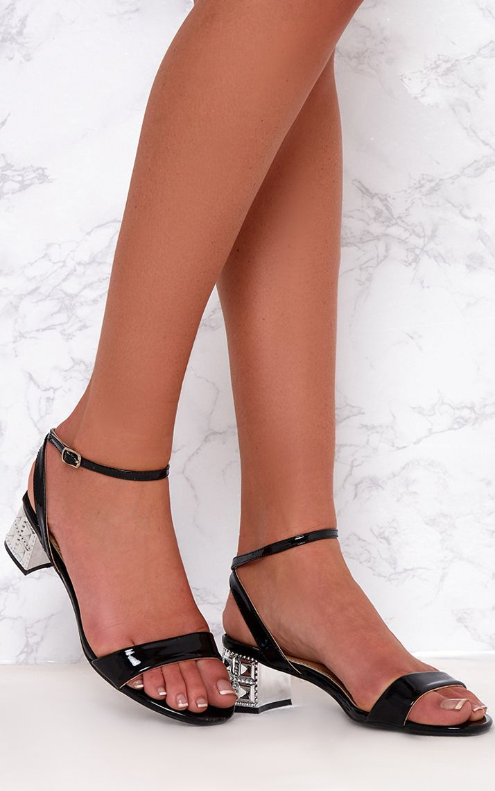 Black Low Block Single Strap Heels