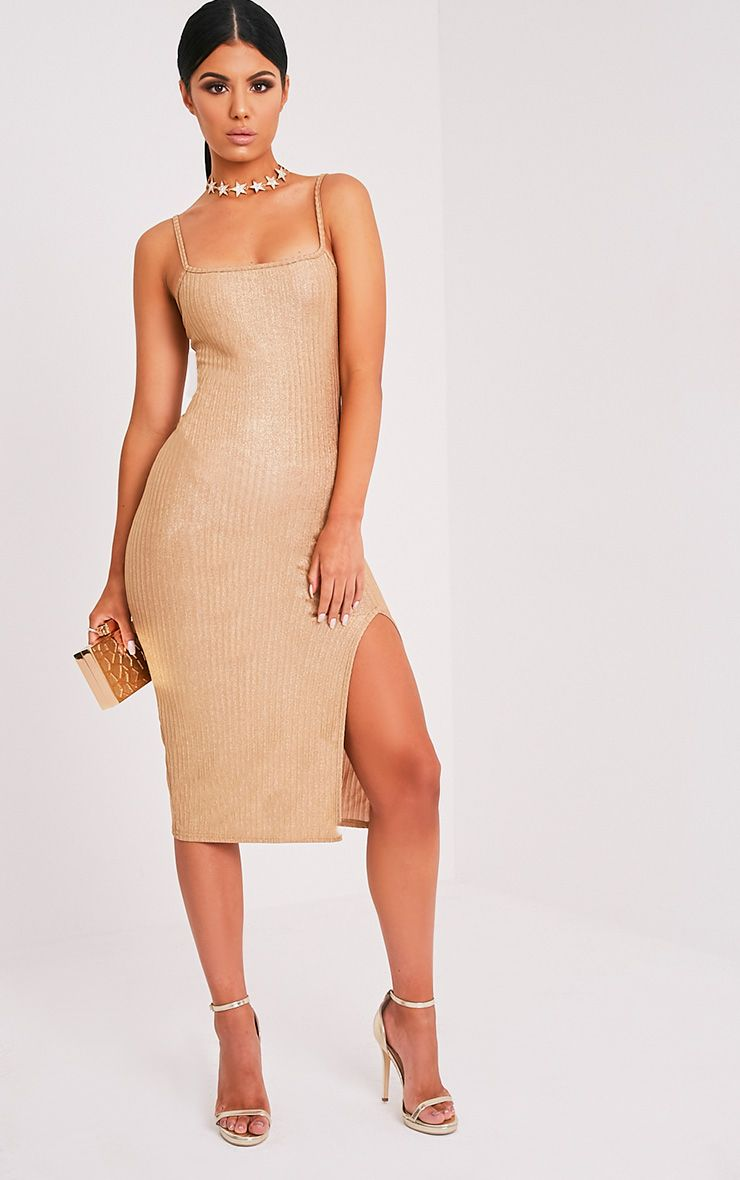 Heidy Gold Side Split Ribbed Midi Dress