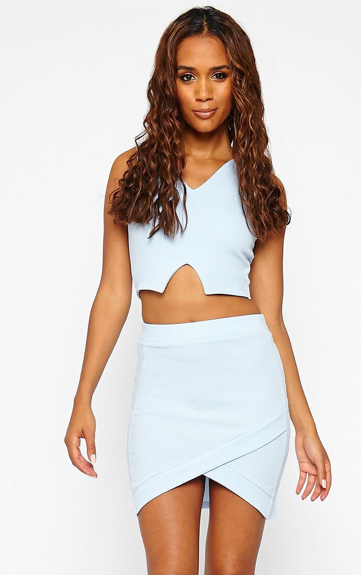 Gabriella Powder Blue Asymmetric Mini Skirt