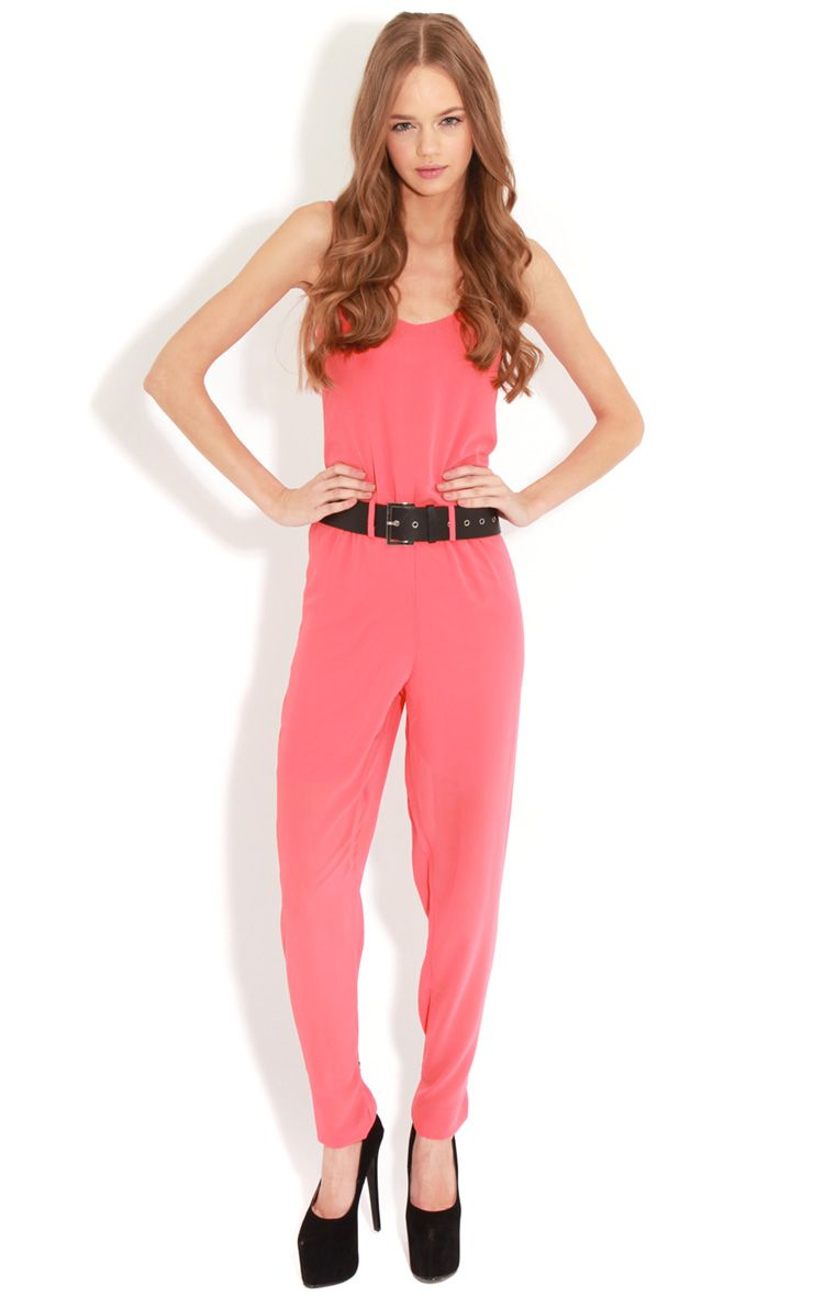 Annabel Coral Chiffon Strappy Jumpsuit  1