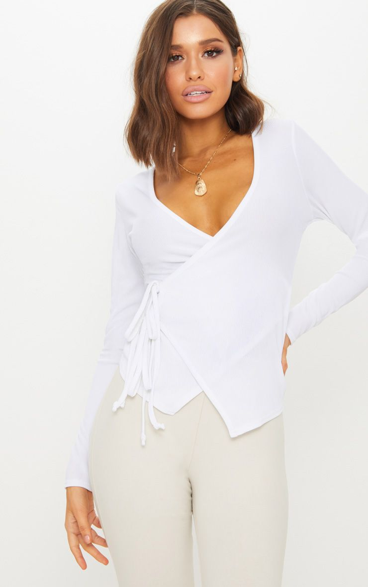 White Rib Wrap Long Sleeve Top