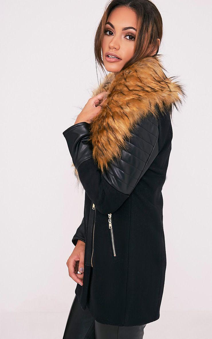 Zilie manteau col en fausse fourrure noir 4
