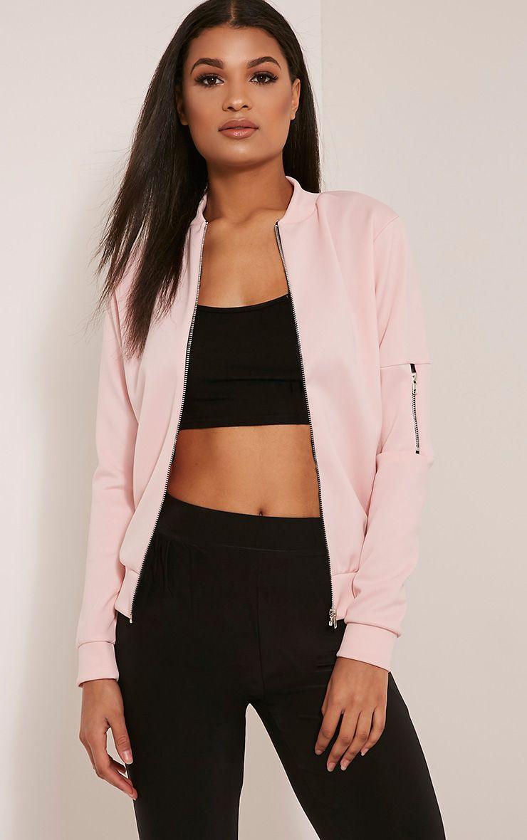 Liana Baby Pink Scuba Bomber Jacket 1