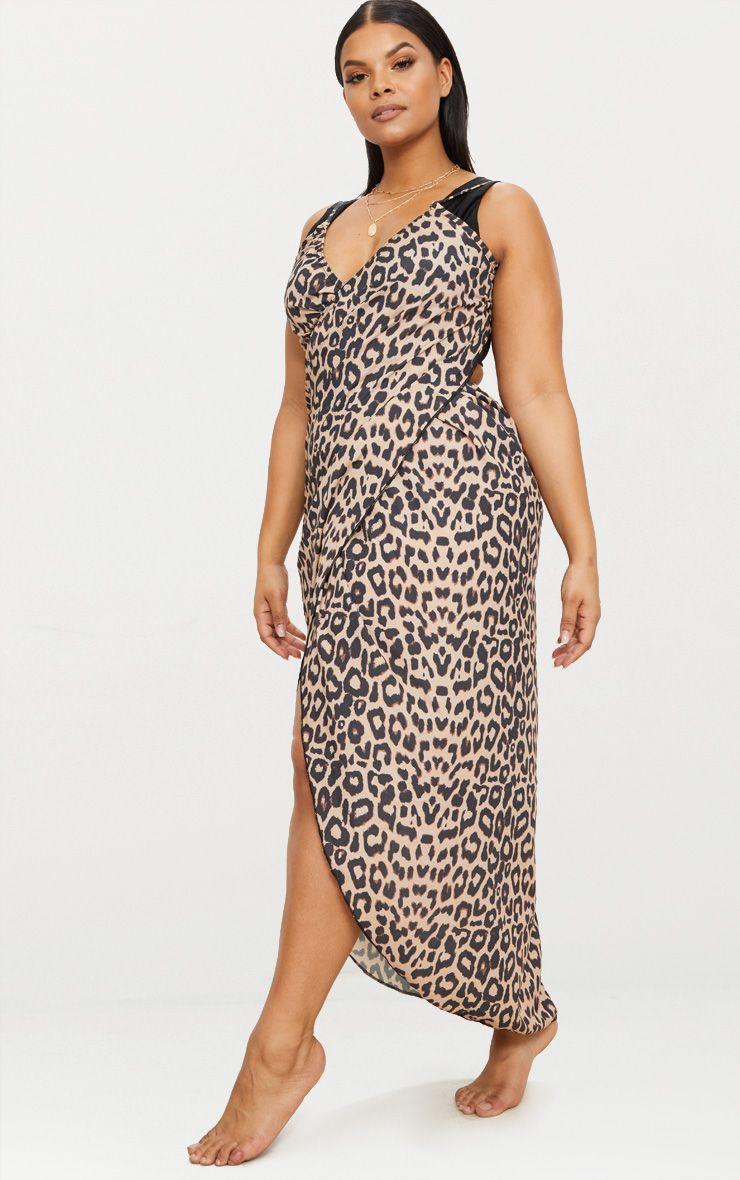 392e30c5bd053 PrettyLittleThing - Plus Brown Leopard Print Wrap Detail Chiffon Beach  Cover Up Dress - 4