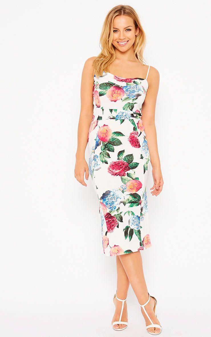 Filipa White Floral Midi Dress 1