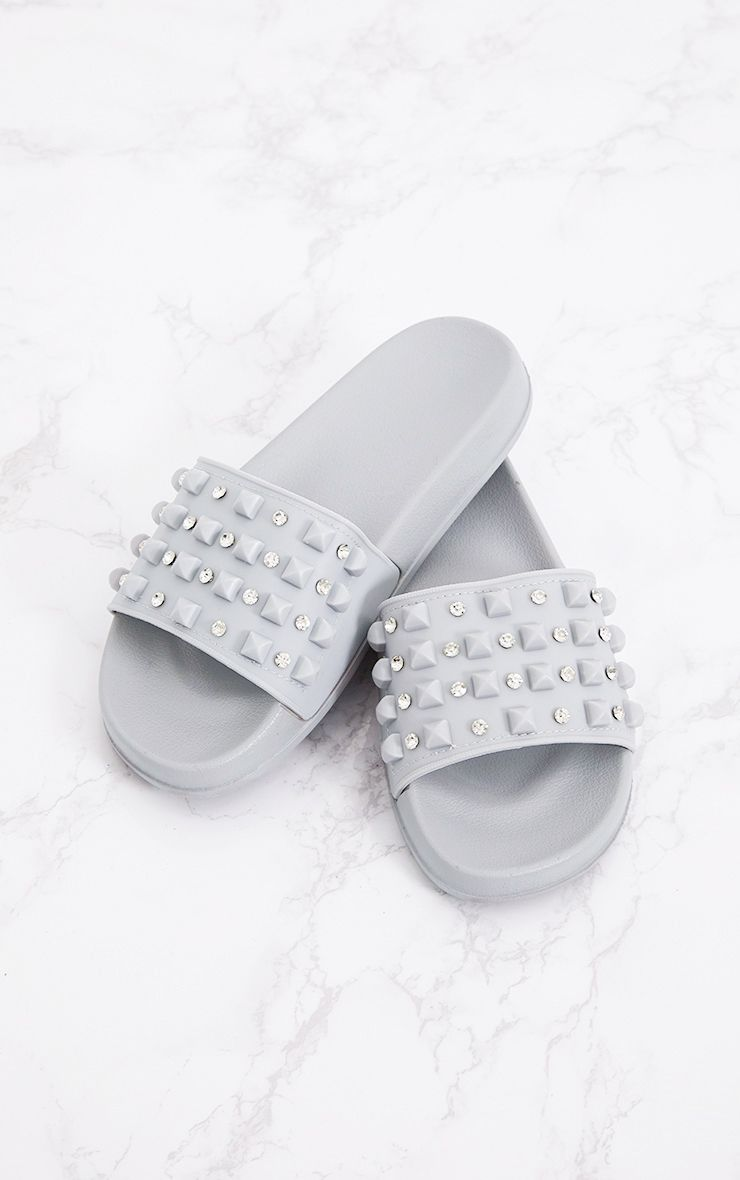 Grey Studded Sliders