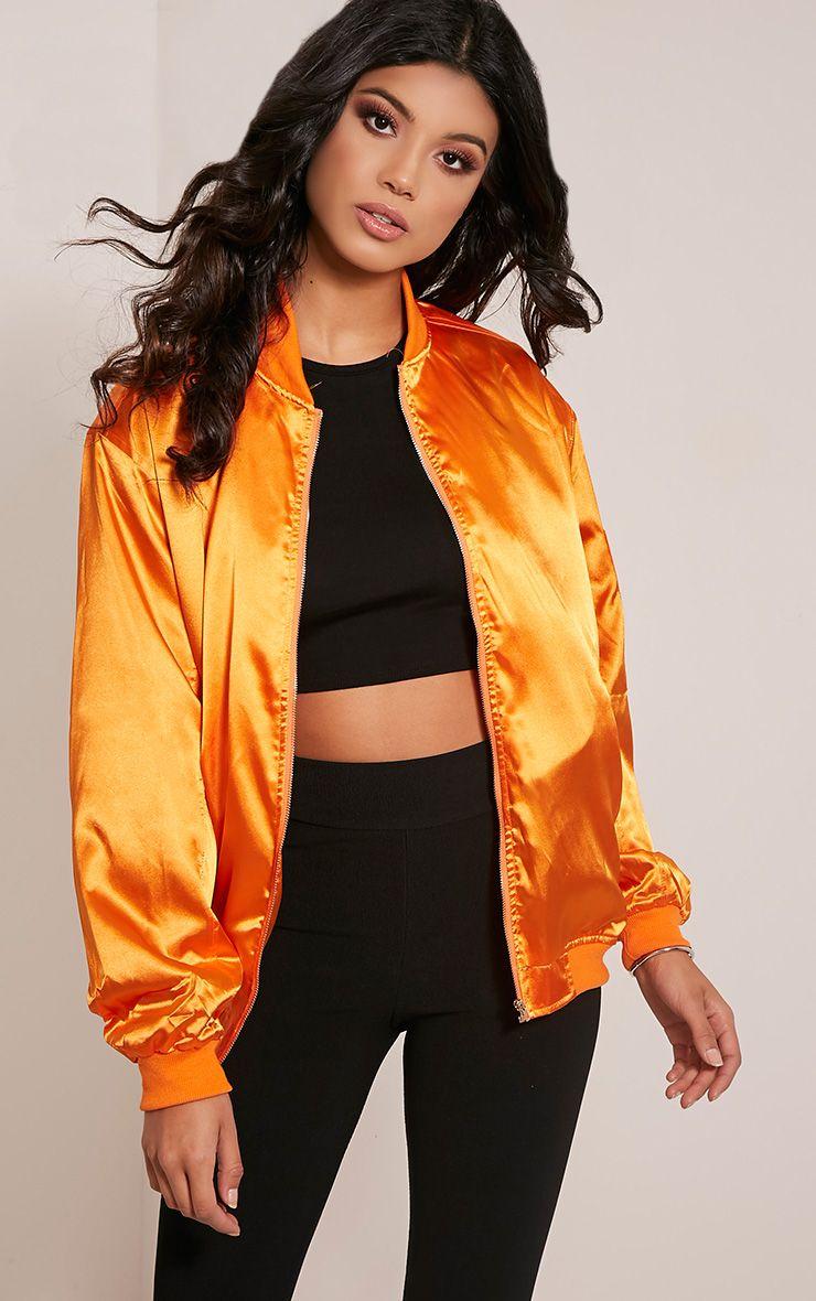Sheena Orange Satin Bomber Jacket