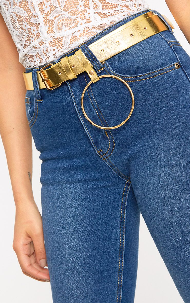 Gold Ring Detail Waist Belt