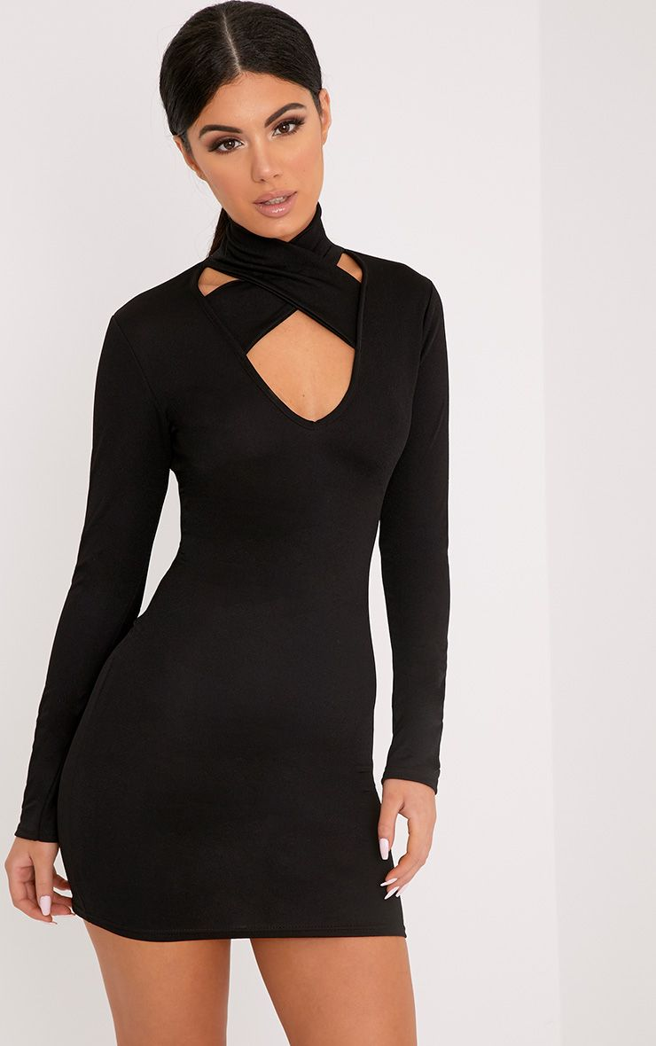 Maryana Black Plunge Choker Neck Bodycon Dress