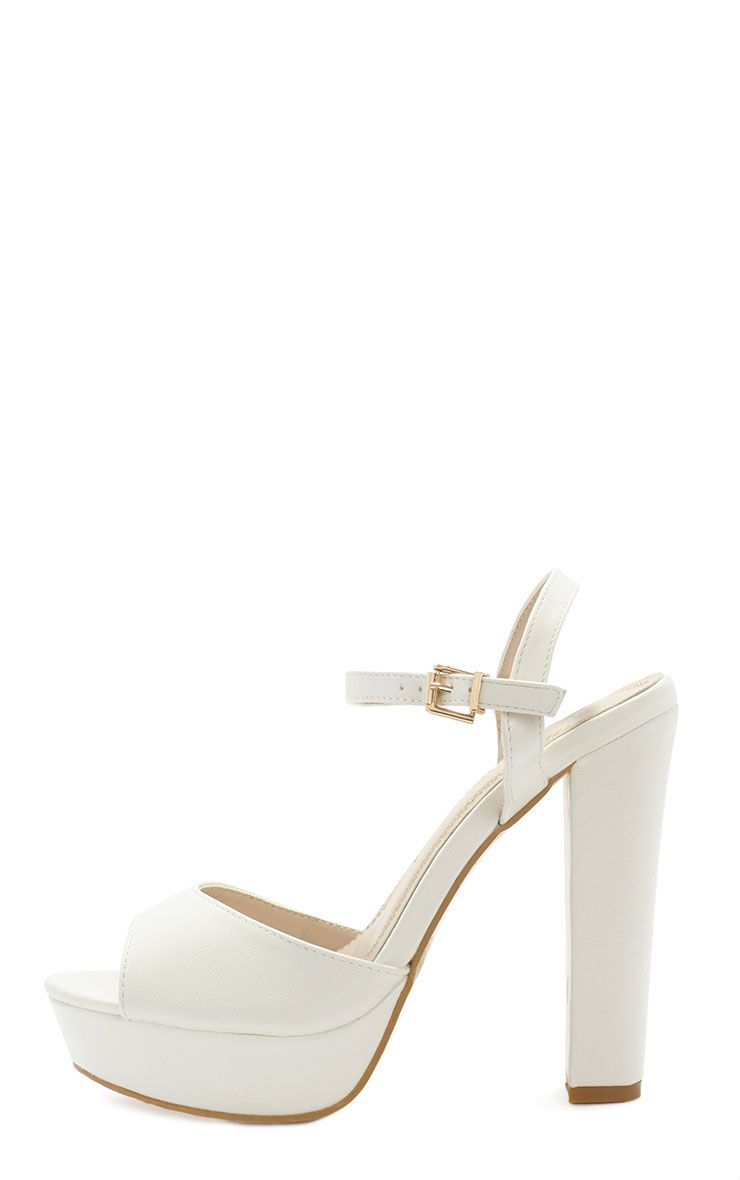 Flori Cream Leather Block Heeled Sandal  1