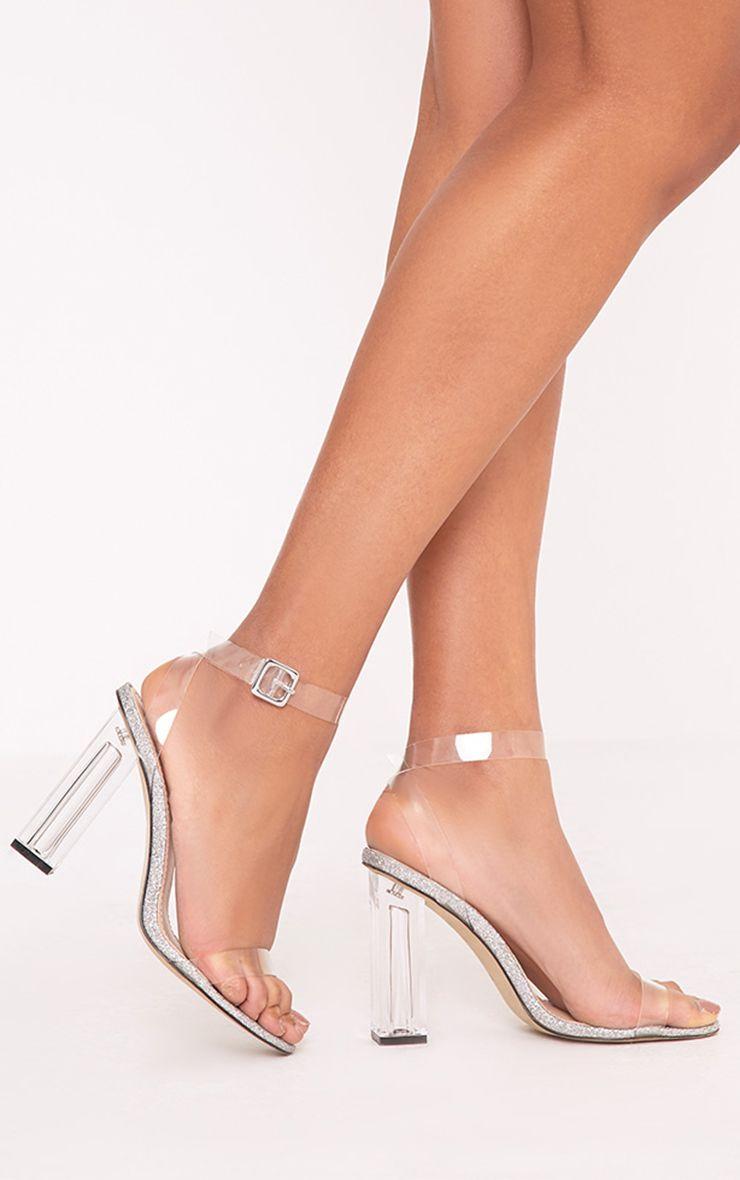 Mahila Silver Glitter Sole Clear Heels