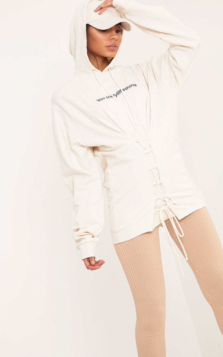 you prettylittlething Chalk Corset Detail Oversized Hoodie