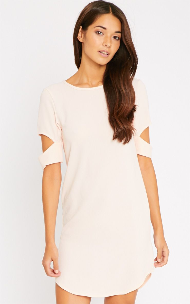 Nina Blush Split Sleeve Waffle Shift Dress-14 1
