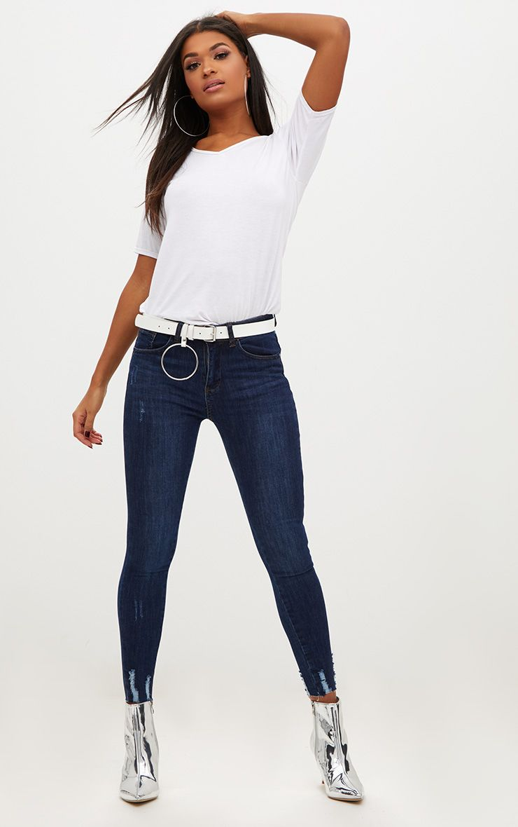 Dark Wash Distressed Hem High Waisted Skinny Jean