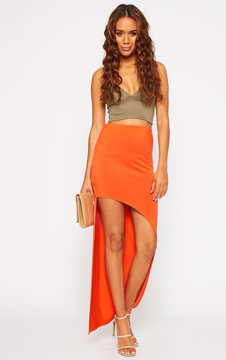 Ashlene Orange Curve Split Jersey Maxi Skirt 1