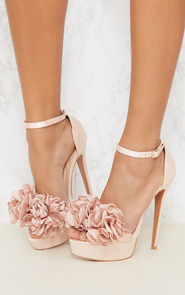 Champagne Ruffle Flower Platform Heel 1