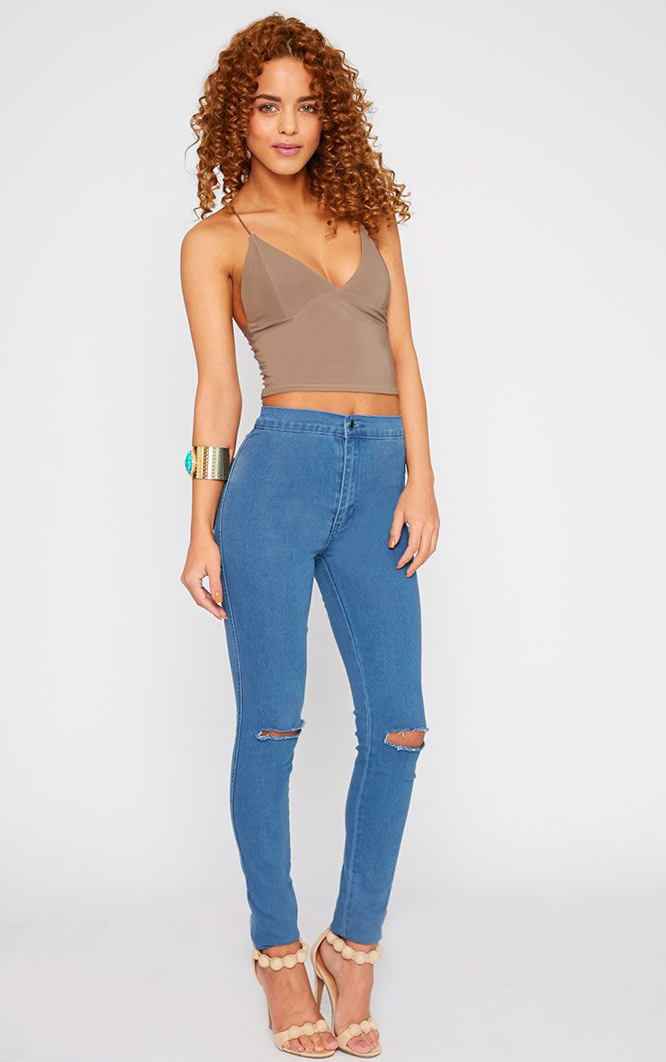 Mari Blue Wash High Waist Ripped Skinny Jean  1