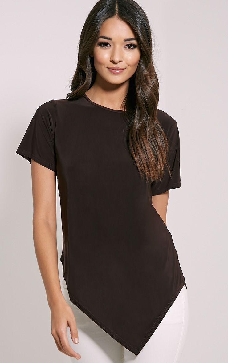 Meimei Chocolate Brown V Hem T-Shirt 1