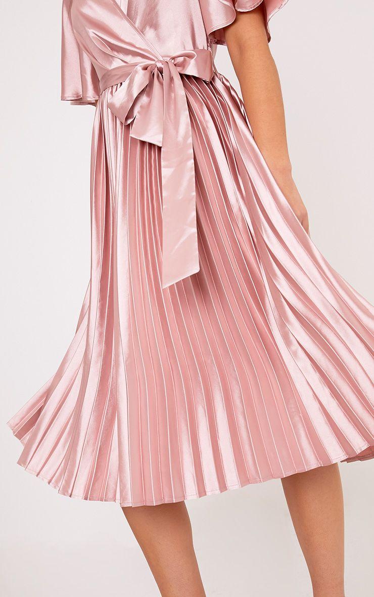 Mairee Dusty Pink Satin Pleated Midi Dress Shop Dresses