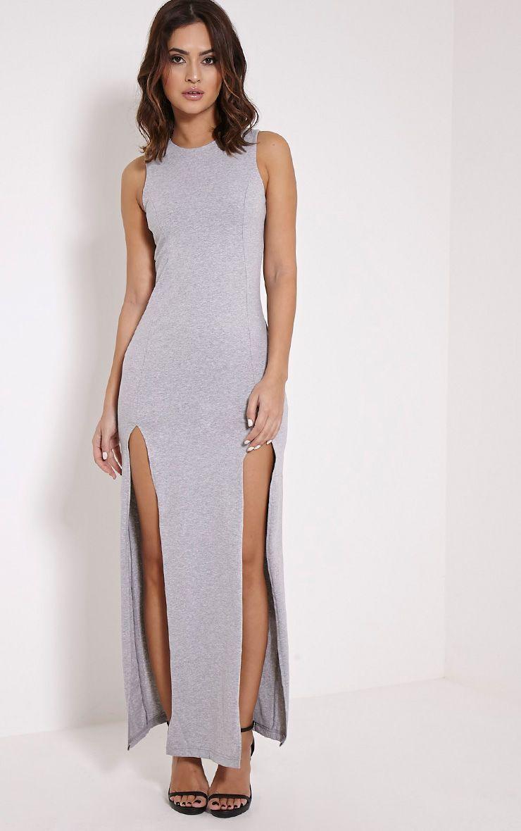Karina Grey Marl Front Split Dress 1