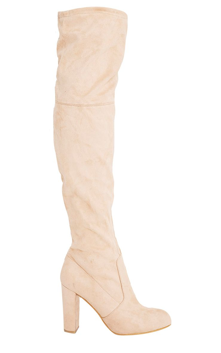 Bess Stone Faux Suede Heeled Thigh Boots
