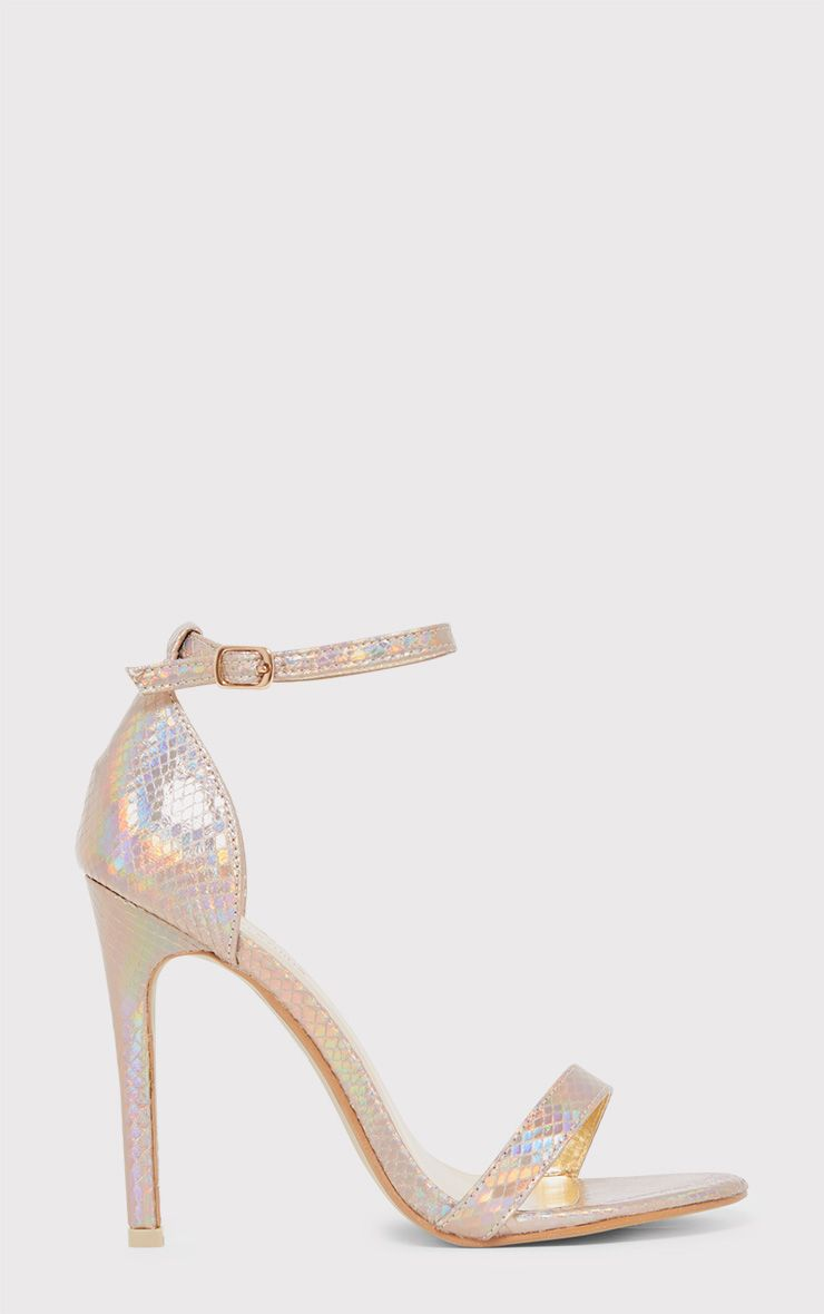 Clover Gold Iridescent Strap Heeled Sandals 1