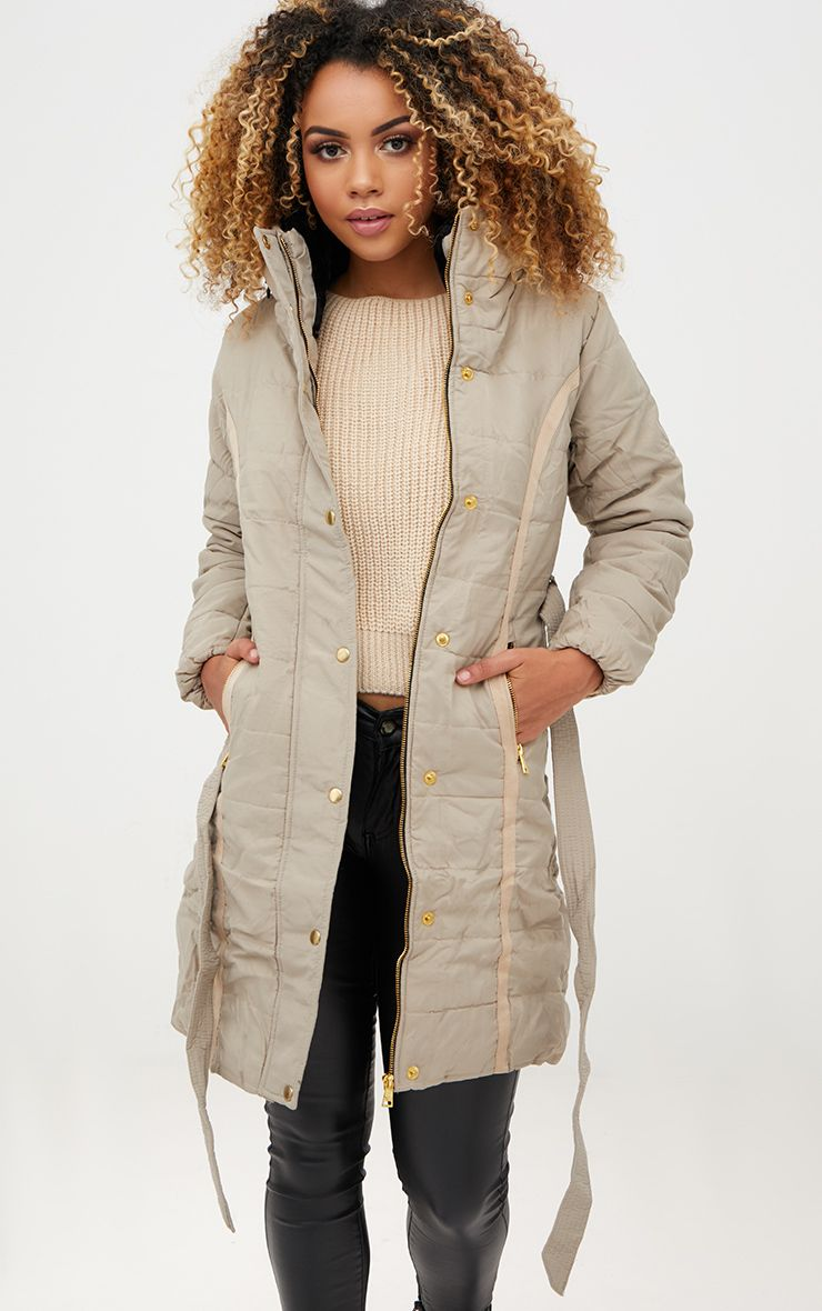 Stone Longline Belted Puffer Coat