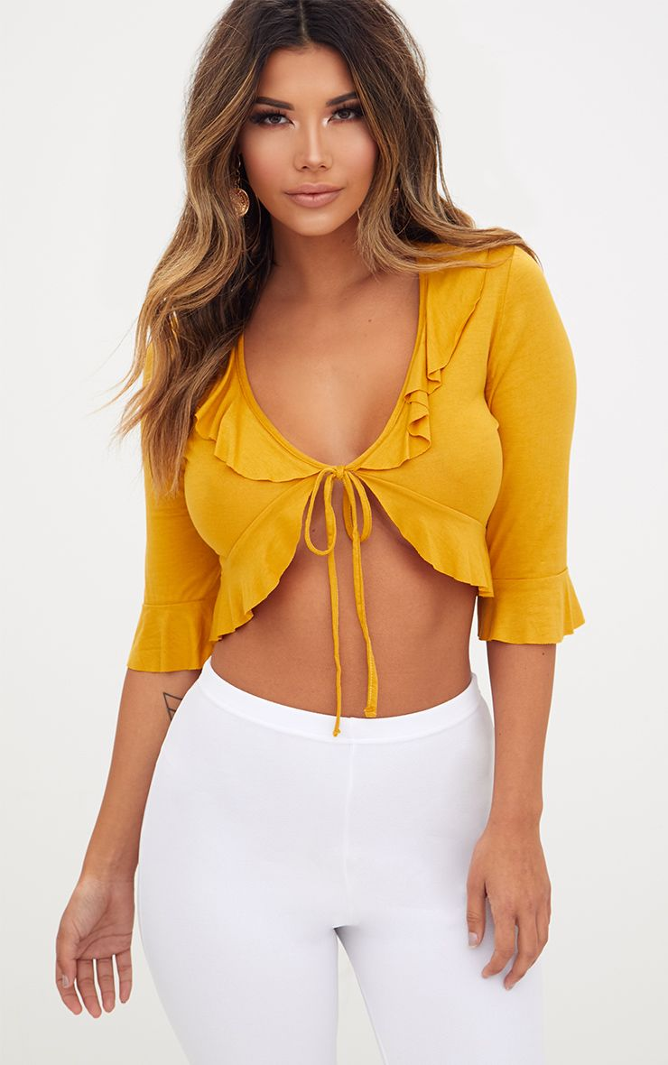 Mustard Jersey Frill Tie Front Top