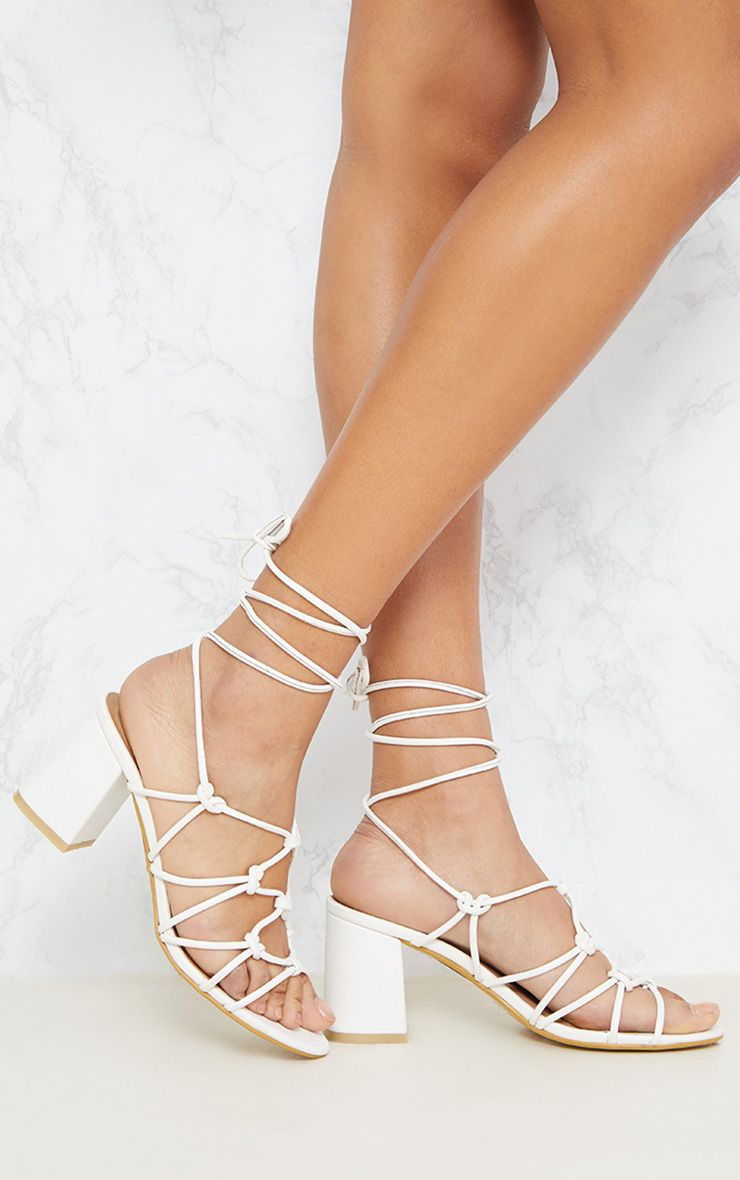 White Block Heel Leg Tie Sandal
