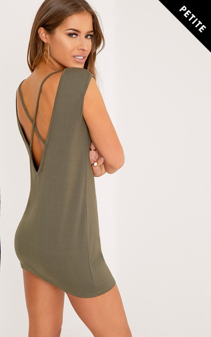 Petite Maryella Khaki Cross Back Detail Sleeveless Dress