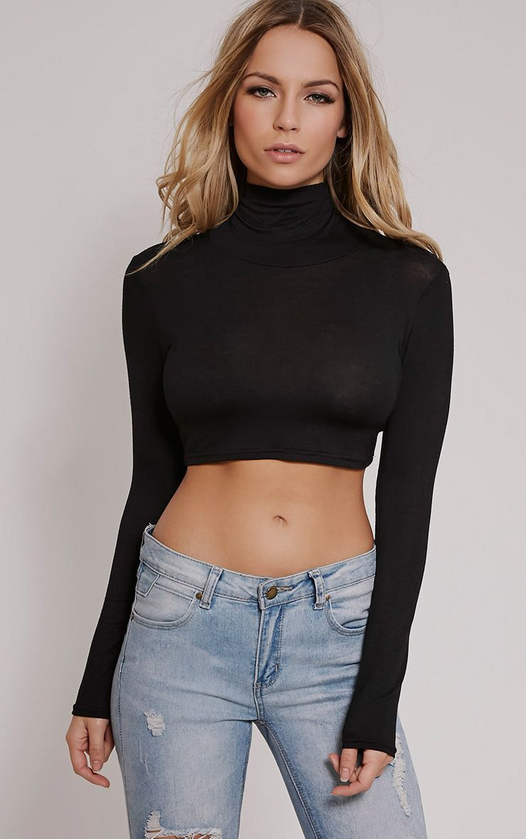 Basic Black Roll Neck Crop Top 1