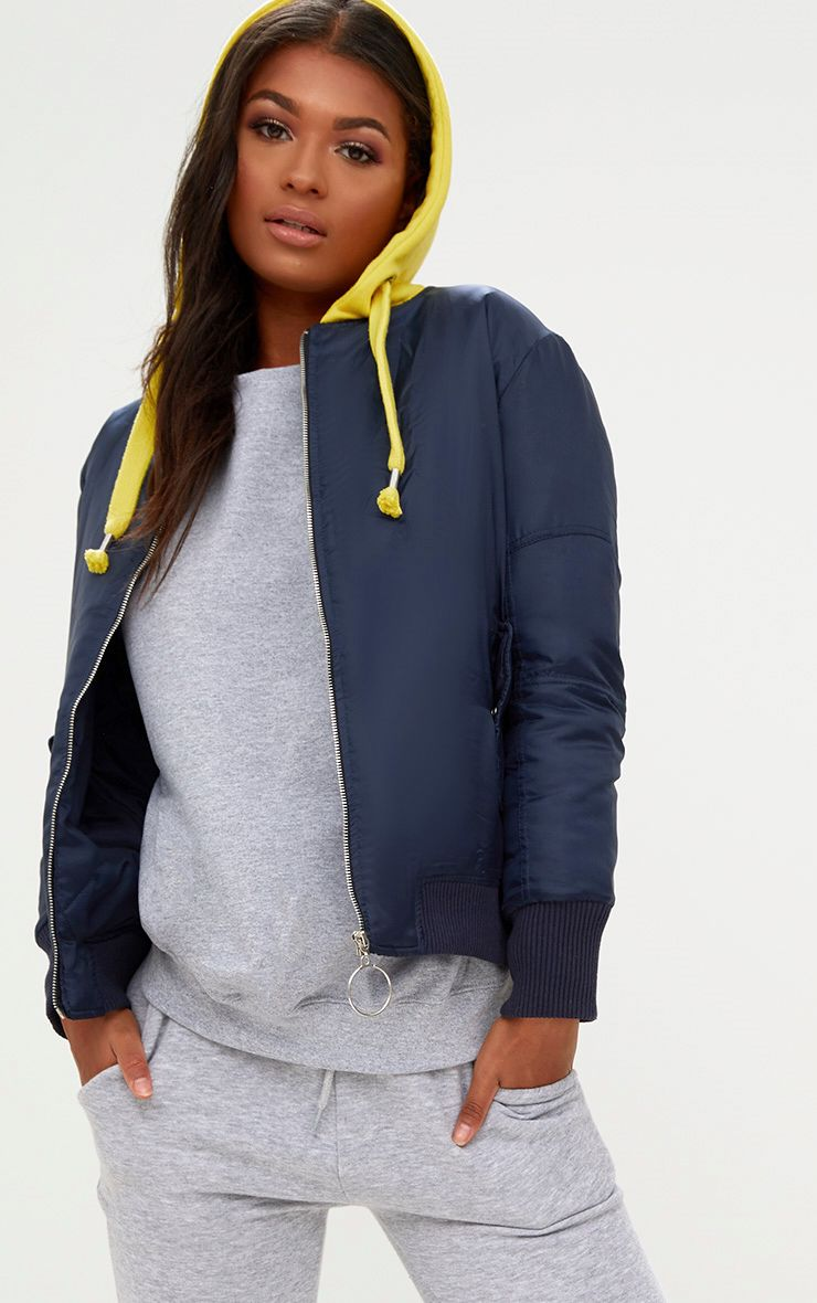 Navy Sweatshirt Hooded Bomber Jacket